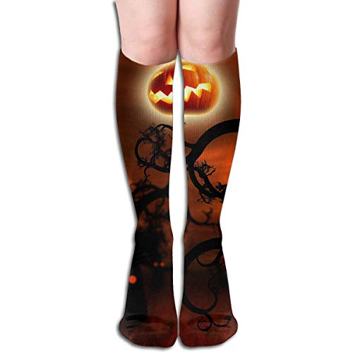 Bandnae 19.68 Inch Compression Socks Happy Halloween Cloud High Boots Stockings Long Hose for Yoga Walking for Women Man -
