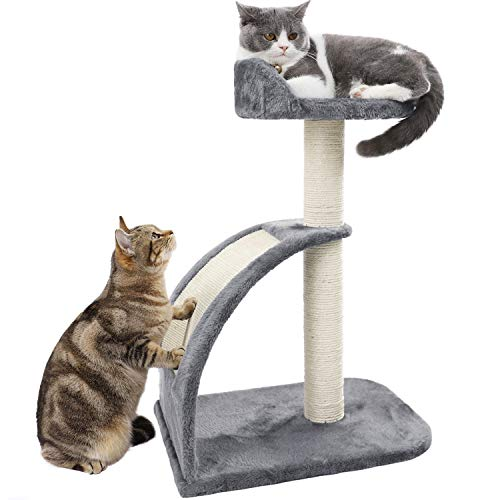 PAWZ Road Cat Tree Sisal-Covered Scratching Post and Pad, Cat Activity Center for Kittens Grey
