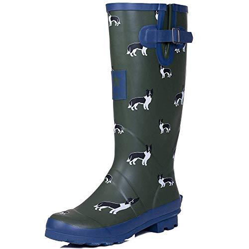 Onlineshoe Women's Funky Flat Wellie Wellington Festival Rain Boots - Assorted Colours UK5 - EU38 - US7 - AU6 Sheepdog