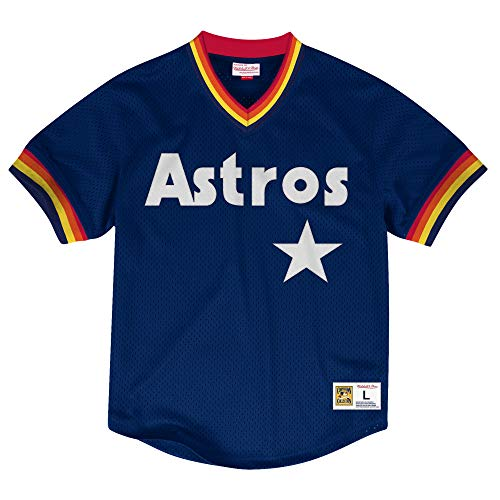Houston Astros Jacket (Mitchell & Ness Houston Astros MLB Men's Dinger Mesh Jersey Shirt)