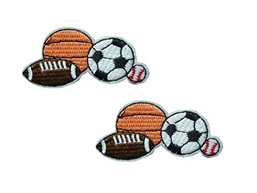 - 2 small pieces BALL SPORTS GAMES Iron On Patch Applique Motif Fabric Children Football Baseball Basketball Rugby Soccer Decal 2.1 x 1.1 inches (5.3 x 2.8 cm)