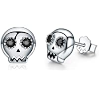 Skull Earrings for Women Girls, CZ 925 Sterling Silver Stud Earrings Best Halloween Present for Women BJ09093