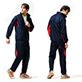 Fuerza Mens Built In Hood Warm Up Woven Track Jacket & Pants Tracksuit (Navy/Red) - Medium