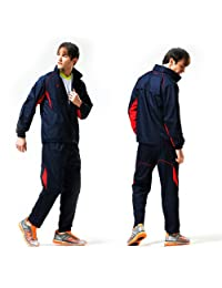 Fuerza Mens Built In Hood Warm Up Woven Track Jacket & Pants Tracksuit (Navy/Red)
