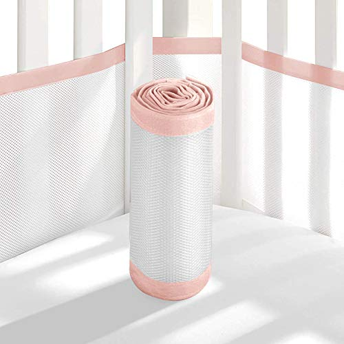 Tonquu Baby Crib Bumper Pads for Standard Cribs Machine, Lightweight Washable Safe Hypoallergenic, Baby Mesh Crib Liner (Pink)...