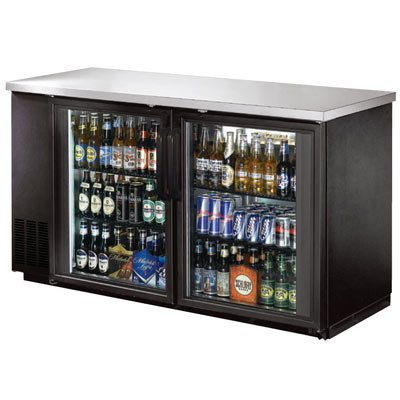 """60"""" Back Bar Beer Bottle Cooler w Stainless Steel Top and LED Lighting"""