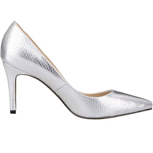 Loslandifen Womens Elegant Pumps Pointed Toe Slip on Stiletto High Heels Dress Shoes Silver INhXwxtR