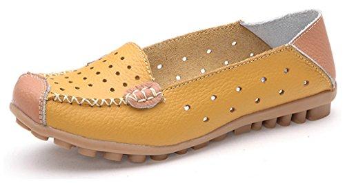 NEWZCERS - Mocasines de Piel para mujer amarillo