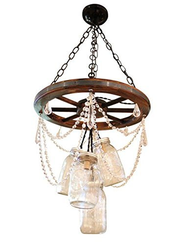 Wagon Wheel Mason Jar Chandelier with Crystal (Wagon Wheel Light Fixture With Mason Jars)