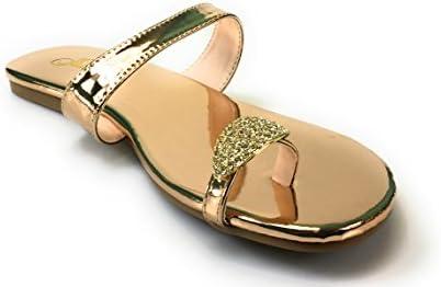 25b18d44d57f Women s Rhinestones Toe Ring Summer Flat Sandals By Jubilee Style Alyson-06a