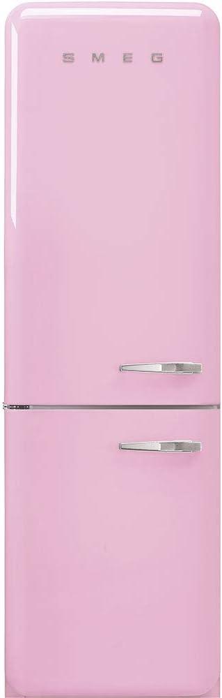 Smeg FAB32ULPK3 Upgraded Model 50s Retro Style Series 24-Inch Freestanding 9 Cu. Ft Refrigerator with 12.5 cu. ft Freezer, 2 Glass Shelves (Pink Left Hand Hinge)