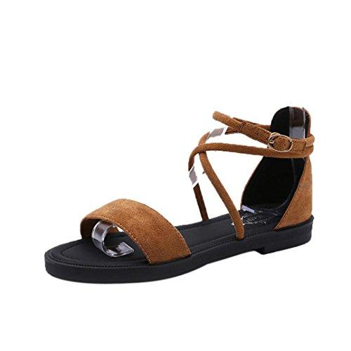hunpta Women Flat Sandals Cross Straps Open Toe Buckle Low Heel Sandals Wedge Summer Yellow