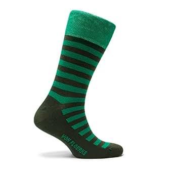 von Floerke® Calcetín ejecutivo para hombre - Business Calcetines con acabados hechos a mano - verde, verde oscuro rayas verdes 100% algodón egipcio by: ...
