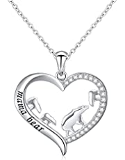 DAOCHONG Mother and Child S925 Sterling Silver Mama Bear with Cub Heart Pendant Necklace for Family