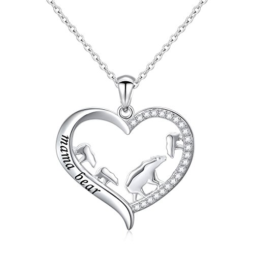 DAOCHONG Mother and Child S925 Sterling Silver Mama Bear with Cub Heart Pendant Necklace for Family (3 - Pendant Sterling Bear