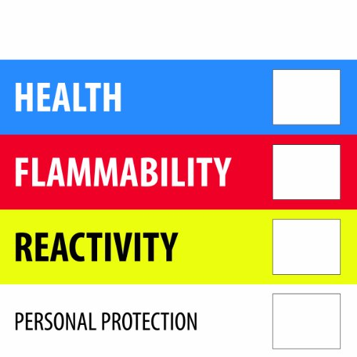 Tape Logic DL1286 Instructions Label, Legend''Health Flammability Reactivity'', 4'' Length x 4'' Width, Blue/Red/Yellow (Roll of 500) by Tape Logic