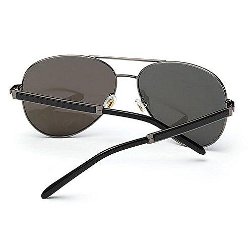 polarizadas Gafas Color Yxsd 400 SunglassesMAN Aviator para Sol Hombre Protección de UV de Gray Black Marco fwIR5fqHx