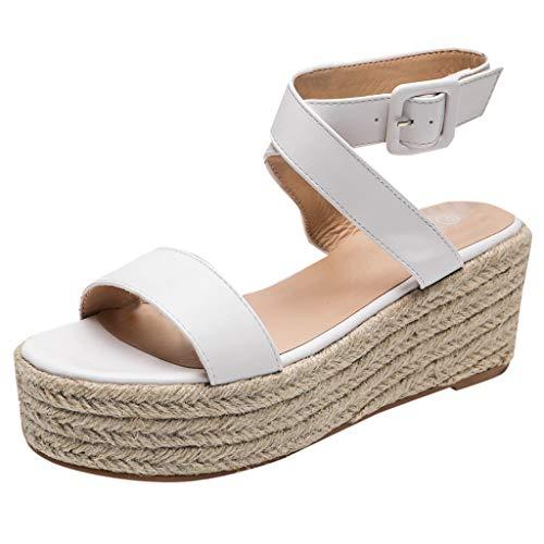 - Woman Roman Weaved Wedged Sandals High Waterproof Platform Sandals Ankle Strap Buckle Peep Toe Slingback Beach Shoes (White, 5.5 M US)