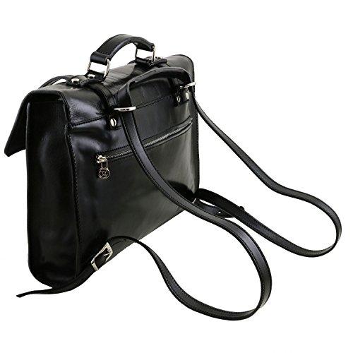 Tuscany Leather Viareggio Exklusive Laptop Aktentsche aus Leder mit 3 Fächer Schwarz Dunkelbraun
