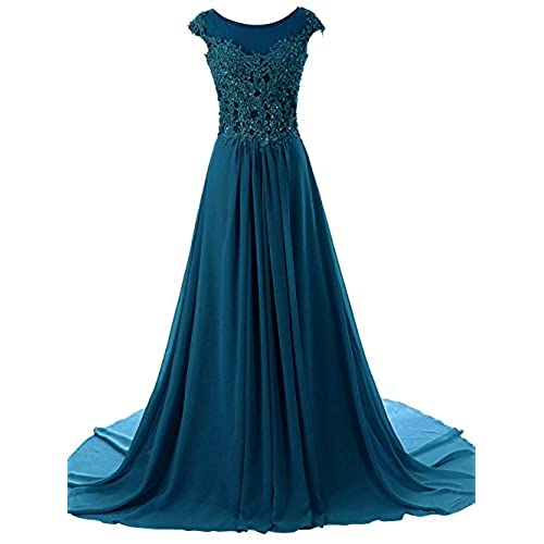 JAEDEN Womens Cap Sleeves Long Chiffon Lace Evening Gown Prom Dresses Jade US16W