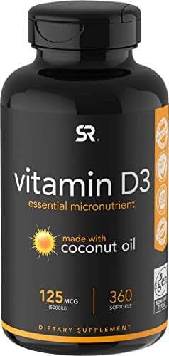 Vitamin D3 (5000iu/125mcg) Enhanced with Coconut Oil for Better Absorption ~ Non-GMO & Gluten Free (360 Mini Liquid Softgels)