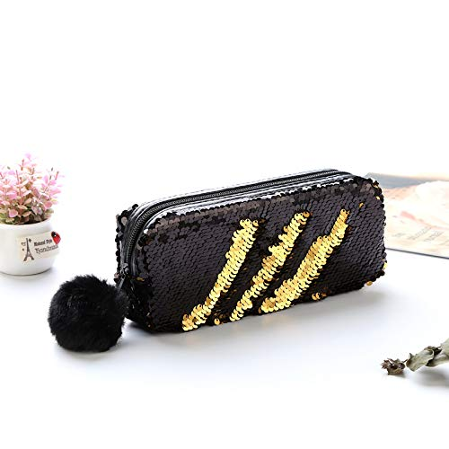 PU Sequin Large Pencil Case Stationery Storage Pen Organizer Bag School Office Supply Escolar Cosmetic Holder by Office & School Supplies YingYing (Image #1)