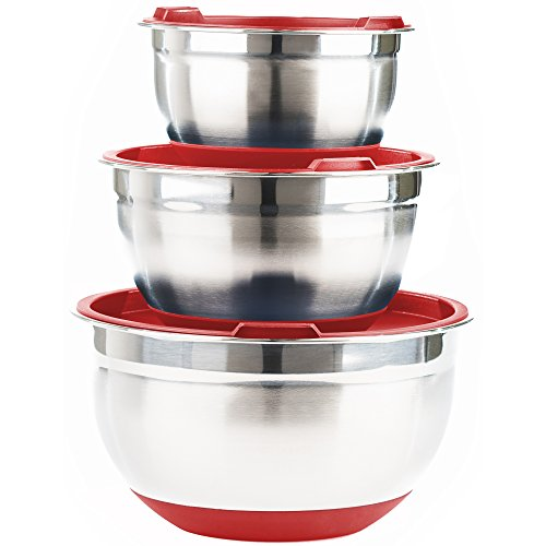 Stainless Steel Mixing Bowls with Lids (Set of 3) by Fitzroy and Fox, Red or blue