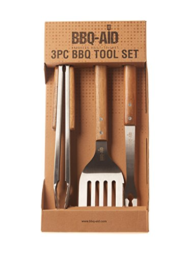 3 Piece Grilling Accessories Set - Tongs, Spatula & Fork - Heavy Duty Stainless Steel Barbecue Grill Tools with Solid Hard Wood Handles - By BBQ - (Fork Solid Handle)