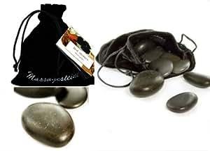 Piedras masaje calientes, 9 unidades, con saquito terciopelo negro