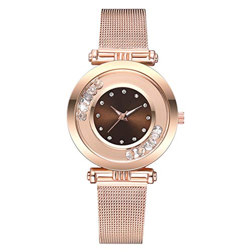 gu6uesa8n Wrist Watch for Women Girls Fashion Rhinestone Balls Round Dial Alloy Mesh Strap Analog Quartz - ()
