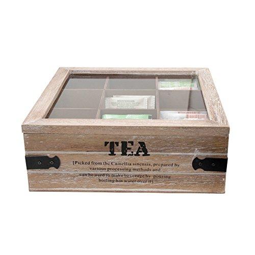 ToCi–Caja de te grandes, 24x 24x 8,5cm (l x an x al),con 9compartimentos para bolsas de te, caja de madera con tapa, diseno retro