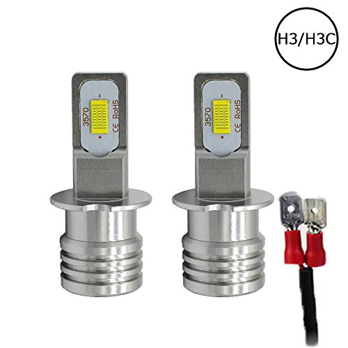 Auto-Ideas 2pcs H3 LED Fog Light DC12V 24V 6000K 2000LM Bright White foglight 72W High Power Cree CSP3570 Chip auto led head lamp Car replacement LED headlight Bulb ALS-72W-W-H3