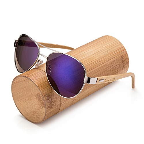 Awerise Personalized Aviator Wood Wooden Sunglasses UV400 Groomsmen Gifts (Sunglasses with bamboo box, ()