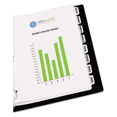 Print-On Dividers, 8-Tab, 3-Hole Punched, 8-1/2 x 11, White, 25 Sets/Pack, Sold as 1 Package