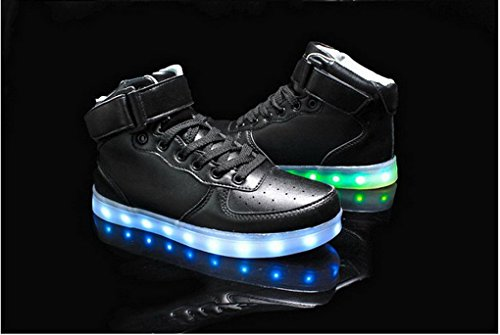High Charging Couples Lace LED Men's Flashing USB Black Sport Shoes Shoes Women's Sneakers Top Up 5B4wZHx