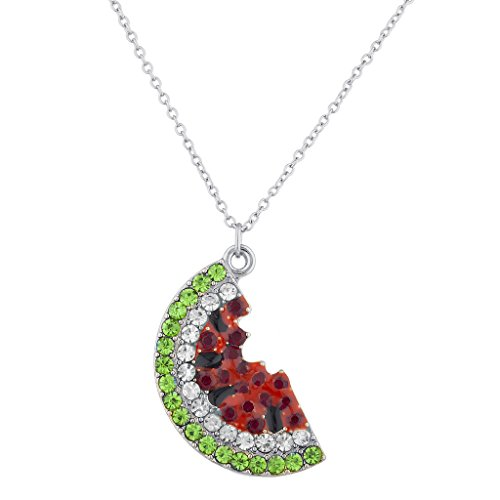 (Lux Accessories Silver Tone Red Green Crystal Rhinestone Watermelon Necklace)