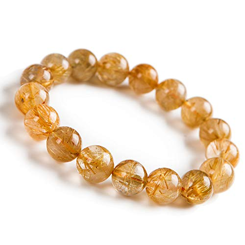 (Natural Yellow Gold Rutilated Quartz Crystal Round Bead Bracelet)