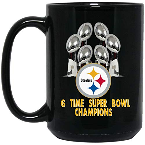 (Pittsburgh Steelers Coffee Mug 6 Time Super Bowl Champions 15 oz Black Ceramic Cup Great for Tea and Hot Chocolate NFL AFC National Football League Perfect Unique Gift Idea for any Steelers Fan)