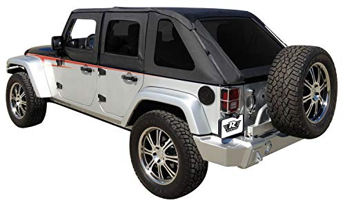 Rampage Products 109835 Frameless Trail Top for 2007-2018 Jeep Wrangler JK 4-Door, Black Diamond Sailcloth w/Tinted Windows