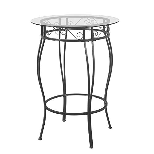 Target Marketing Systems Gabriella Round Pub Table with Tempered Glass, Black