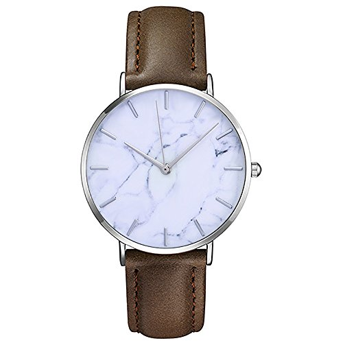 Mens Minimalist Ultra Thin Bokeley Leather Watch Dress Casual Classic Slim Simple Wrist Watches for Men Ladies (Brown)