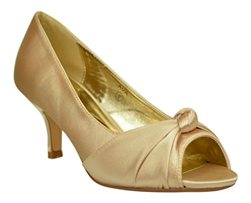 Chic Feet - Sandalias de vestir de Satén para mujer Champage / Nude