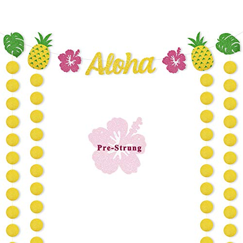 Hawaiian Aloha Party Banner Luau Themed Supplies Tropical Leaves Pineapple Decorations Glitter Circle Dots Backdrop for Adults Kids Birthday Wedding Baby Shower Ideas