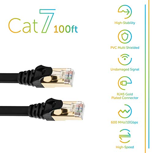 Cat 7 Ethernet Cable 100 ft Black Flat with Cable Clips, Shielded Cat7 Solid Ethernet Patch Cord Fastest Internet RJ45 Higher Speed Than Cat 5e Cat6 Network (100Ft-Blk)