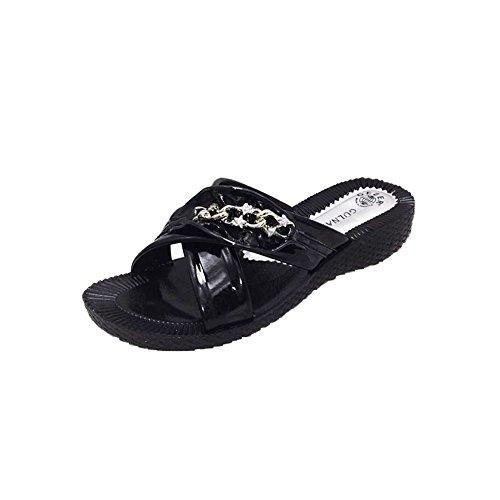 SendIt4me Patent-Low Damen Keil Sandaletten mit Kette Diamante Schwarz