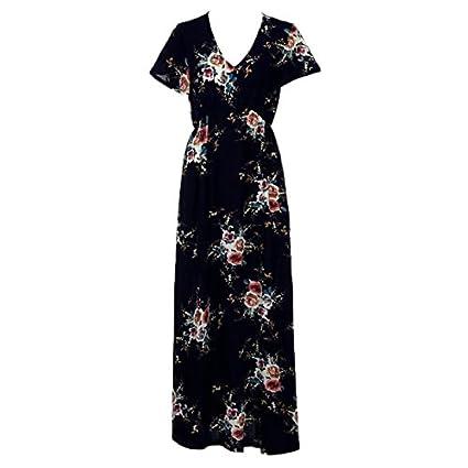 JAGENIE Vestido de Playa para Mujer, Estilo Vintage, Diseño Floral, Cuello en V