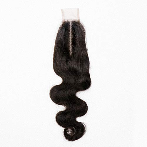 Amberhair 2x6 Lace Closure Human Hair Body Wave Brazilian Virgin Remy Hair Middle Part Closure With Baby Hair Natural Color 14 inches