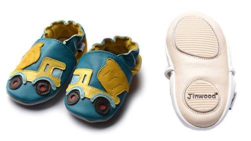 Jinwood designed by amsomo - Patucos de Piel para niña Multicolor - dumper truck blue mini shoes