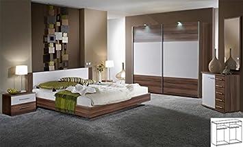Komplett Schlafzimmer 713 franz. nussbaum weiss Bett: 160x200 cm mit ...