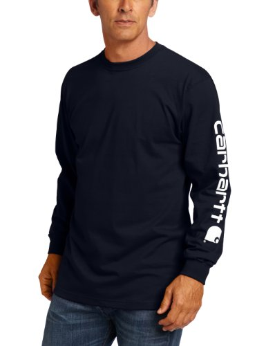 Carhartt Men's Big & Tall Signature Sleeve Logo Long Sleeve T-Shirt ,Navy,3X-Large